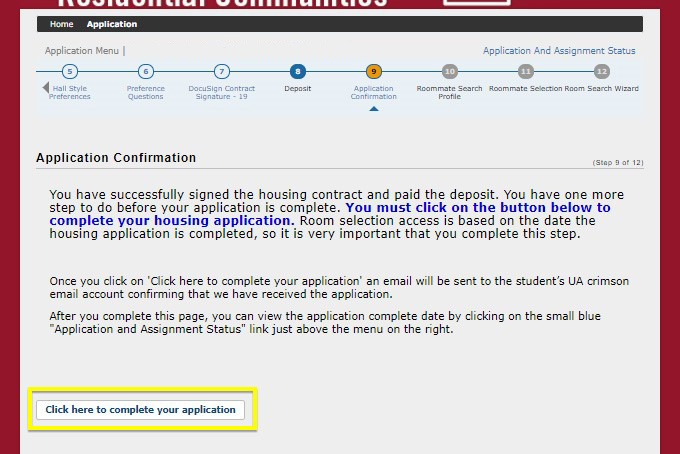 "Application confirmation page, with ""Click here to complete your application"" button highlighted"