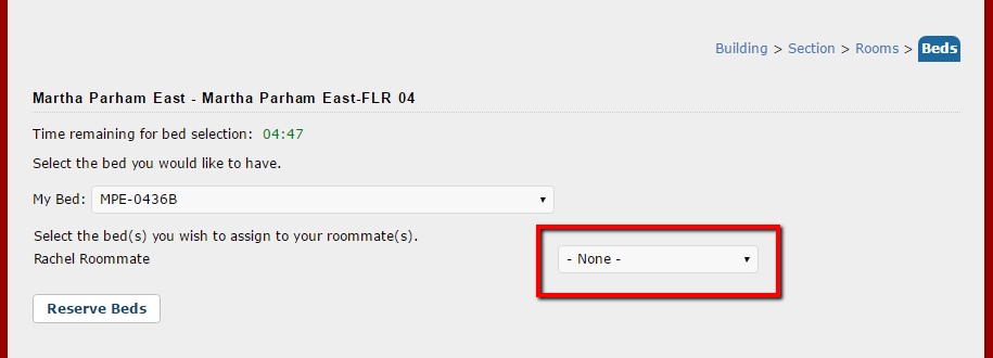 Reserve Beds page with roommate assignment drop down bar selected
